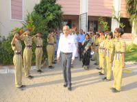 NCC Cadets saluting the Chief Guest.